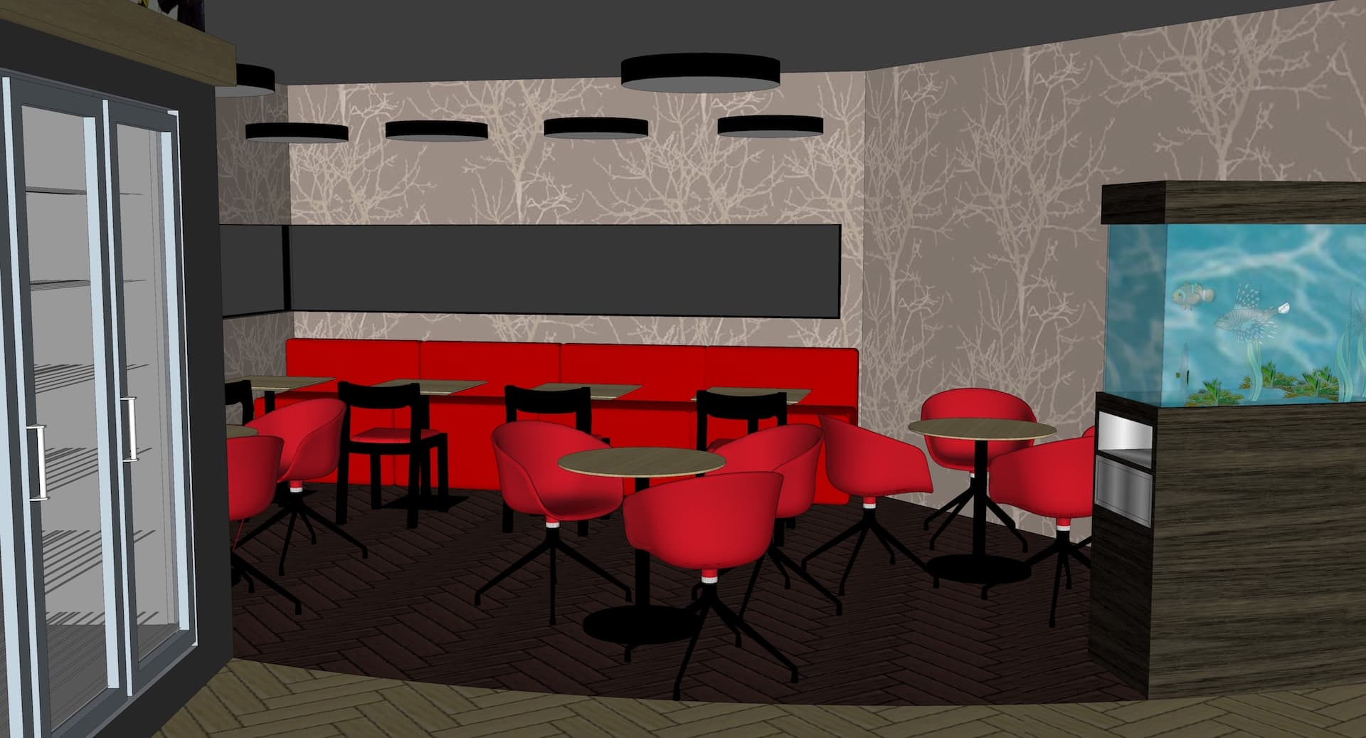3d visualization of gas station interior