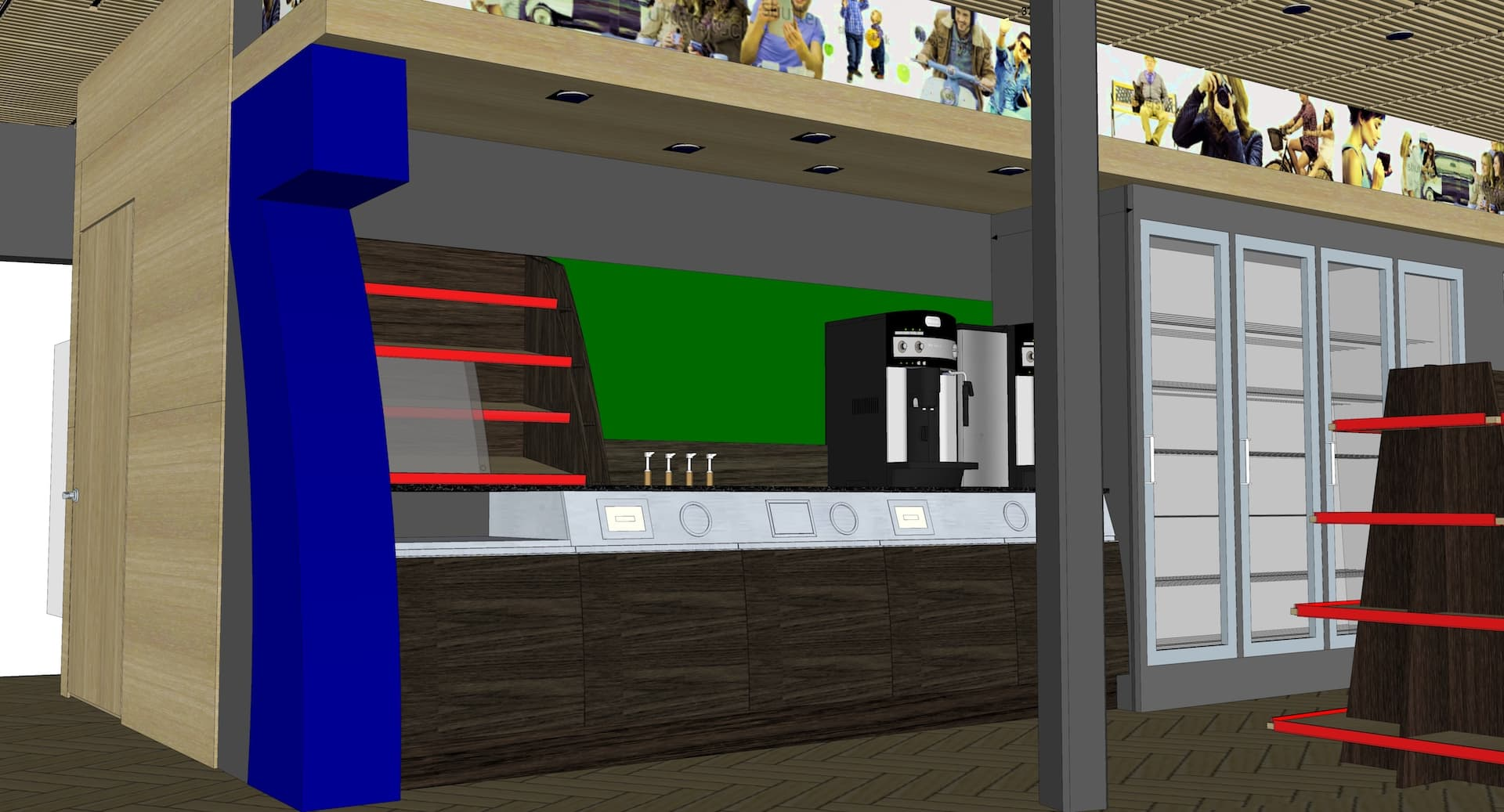 Gas station furniture 3d visual