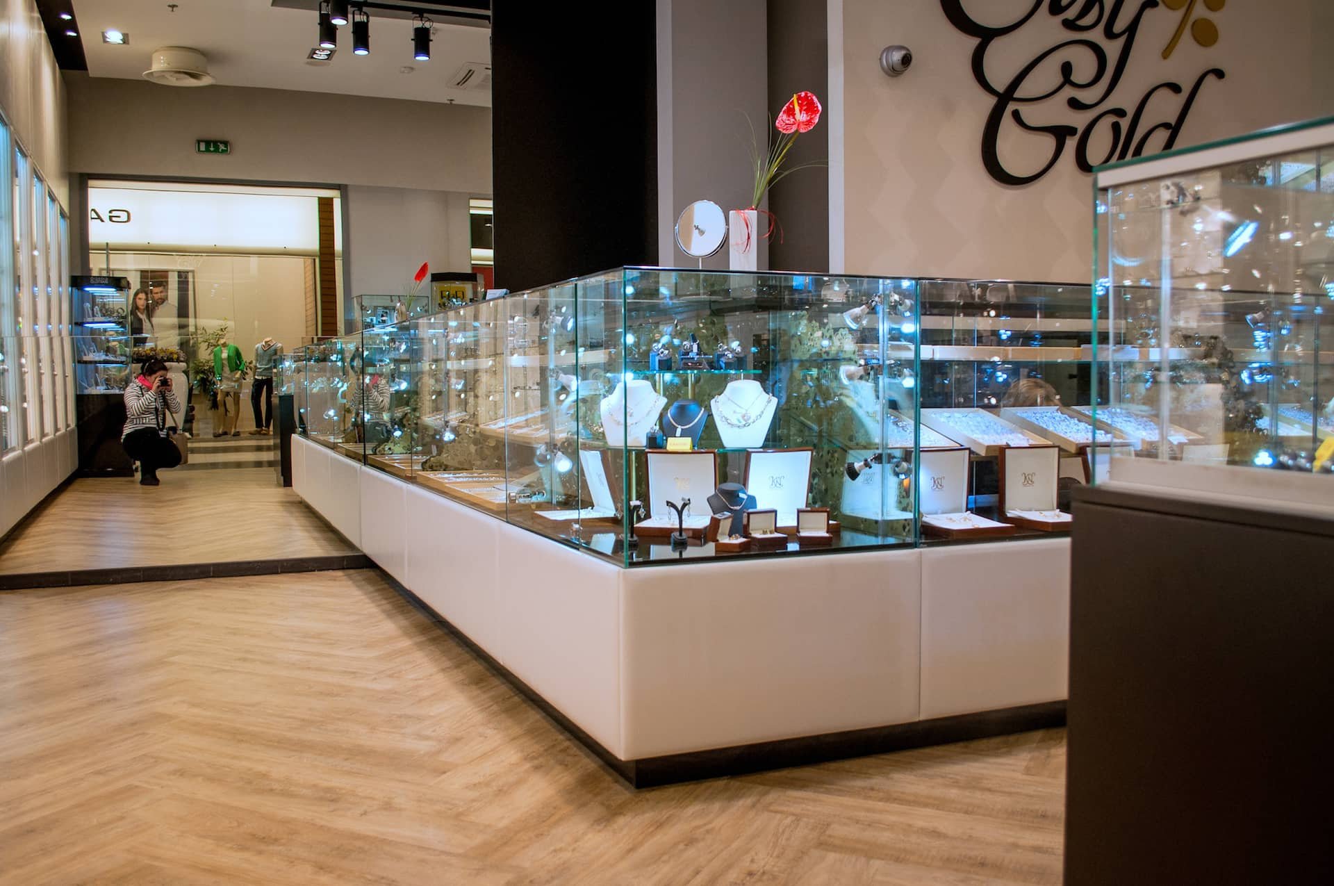 Glass display in a jewelry store