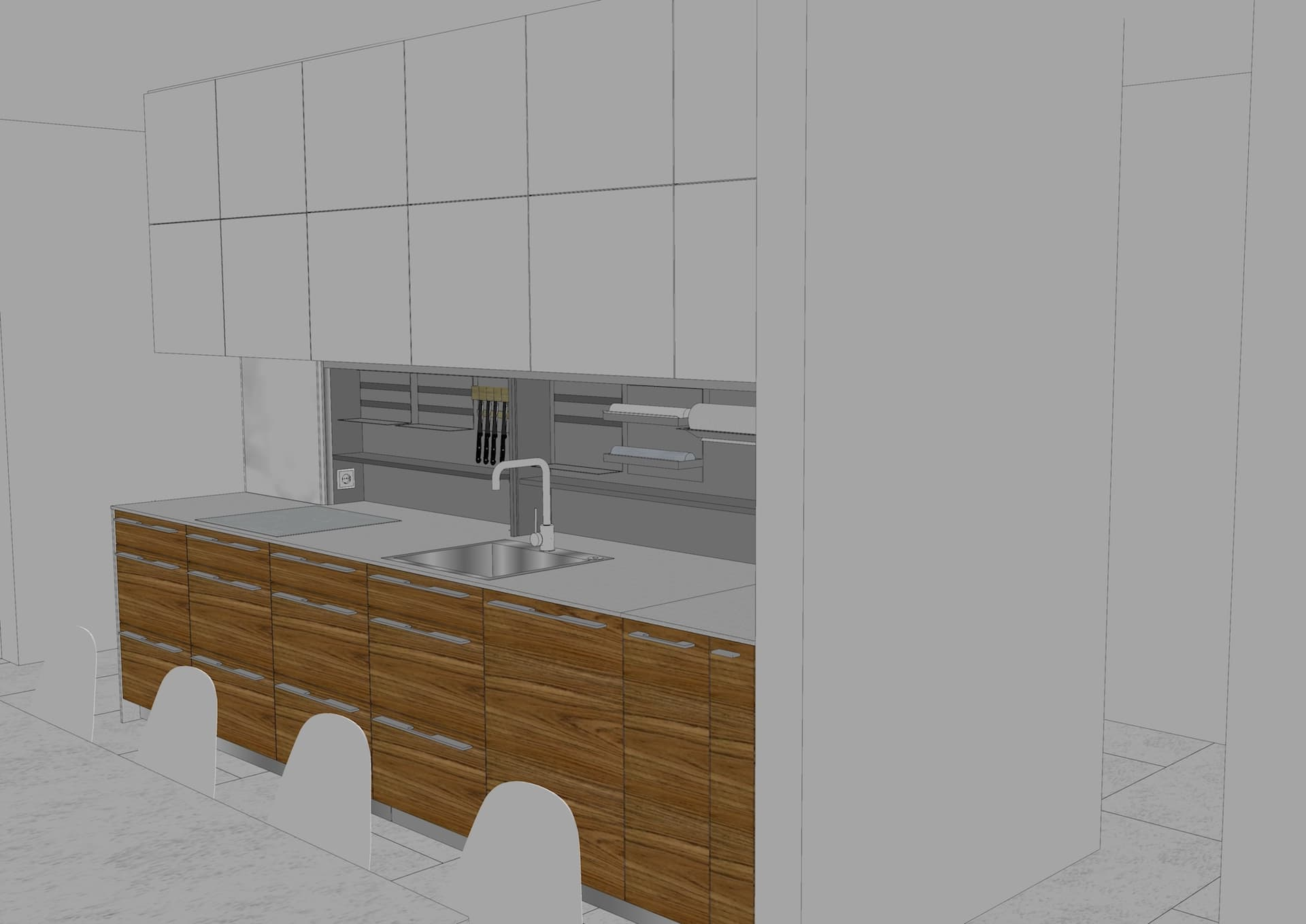 Kitchen furniture in 3d drawing