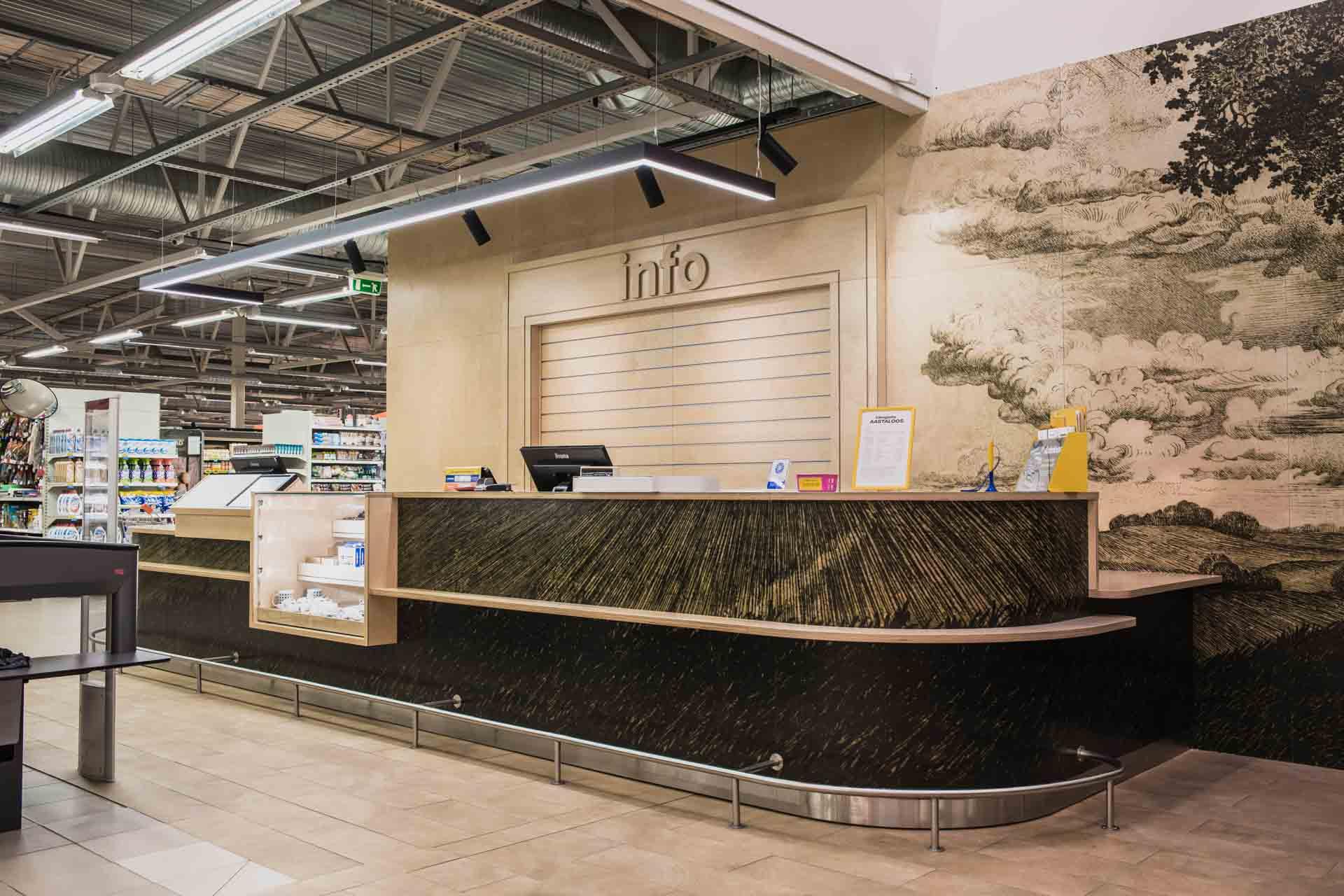 Plywood information desk