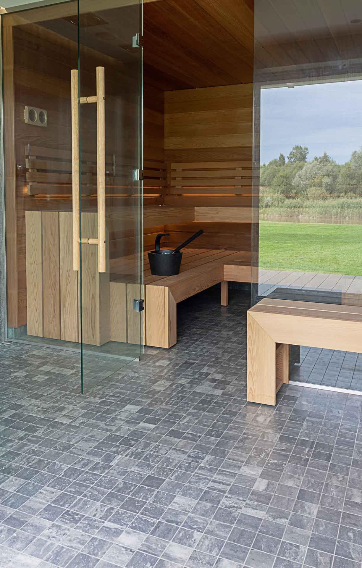 Wooden sauna furniture